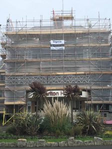 Hallmark Hotel Bournemouth Carlton - complete scaffolding on hotel entrance