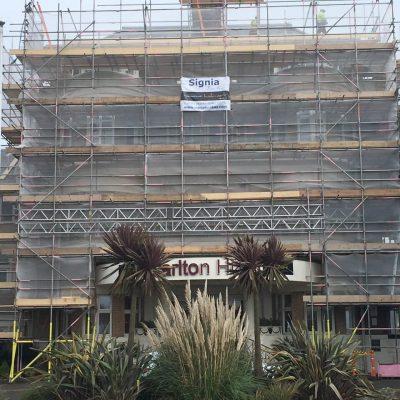 Hallmark Hotel Bournemouth Carlton - complete scaffolding on hotel entrance